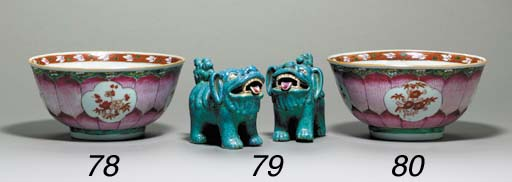 A SMALL PAIR OF BUDDHIST LIONS