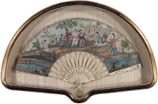 A PAINTED PAPER AND IVORY FAN