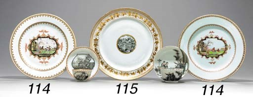 TWO MEISSEN STYLE PLATES