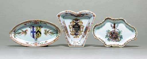 TWO ARMORIAL SPOON TRAYS AND A