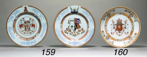 TWO IRON-RED, GILT AND COBALT