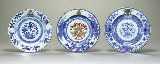 THREE BLUE AND WHITE ARMORIAL