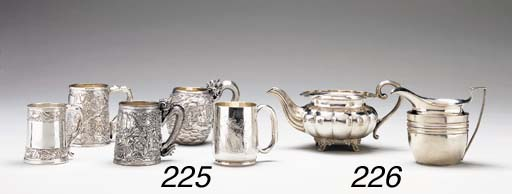 A GROUP OF FIVE SILVER MUGS