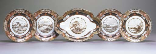 A SET OF FIVE SEPIA AND GILT D