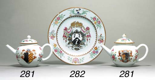 TWO ARMORIAL TEAPOTS AND COVER