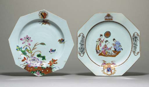TWO OCTAGONAL ARMORIAL PLATES