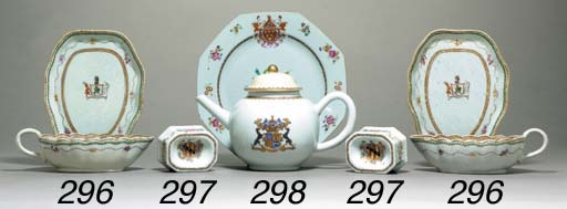 A PAIR OF ARMORIAL SALTS