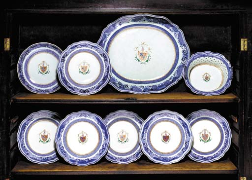 A BLUE AND WHITE AND ENAMEL AR