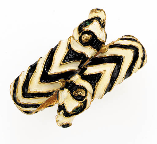 AN ENAMEL ZEBRA BANGLE