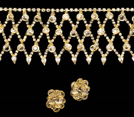 A SUITE OF RHINESTONE AND GILT
