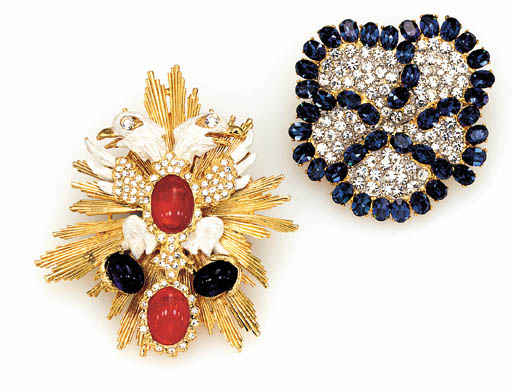 TWO SIMULATED GEM-SET BROOCHES