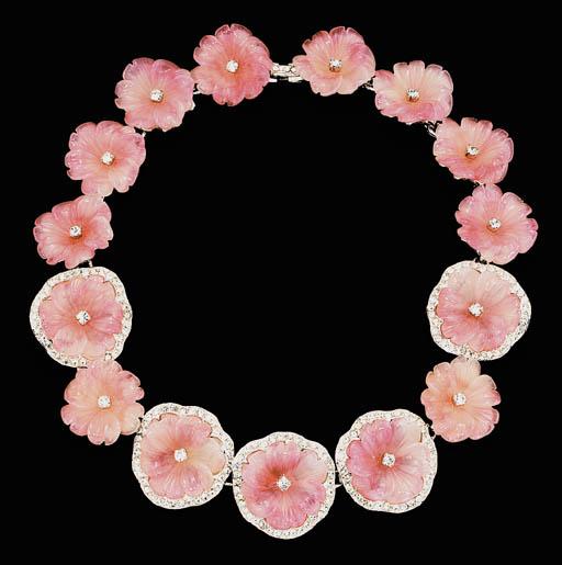 A SIMULATED ROSE QUARTZ AND RH