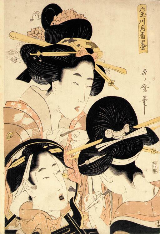 Kitagawa Utamaro II (d. ca. 1831) Suzuki Harunobu (1724-1770) Katsukawa Shuncho (act. late 1770s-late 1790s) Torii Kiyonaga (1752-1815) Keisai Eisen (1790-1848) Utagawa Kunisada (1786-1865) Utagawa Kuniyoshi (1797-1861)