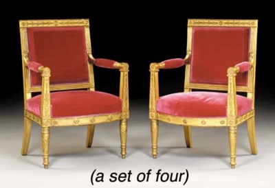 A SET OF FOUR EMPIRE GILTWOOD