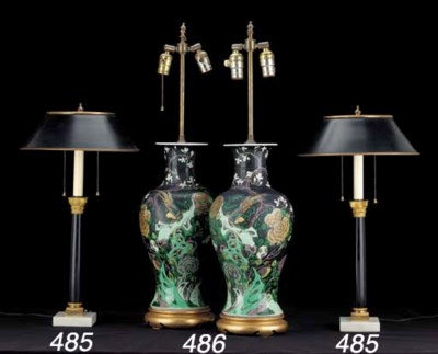 A PAIR OF FRENCH ORMOLU, TÔLE,