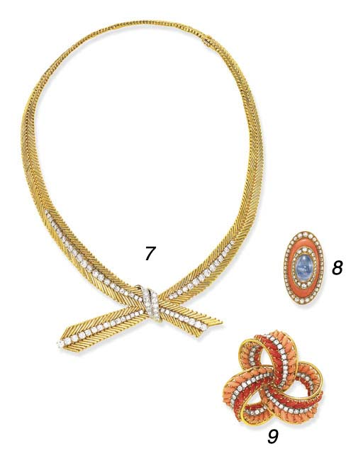 A SAPPHIRE, DIAMOND AND CORAL