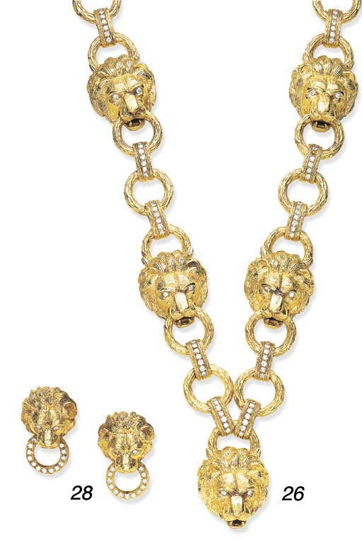 A PAIR OF DIAMOND AND GOLD LIO
