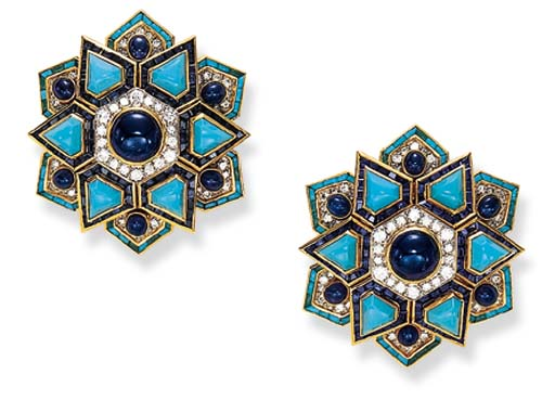 A PAIR OF TURQUOISE, SAPPHIRE
