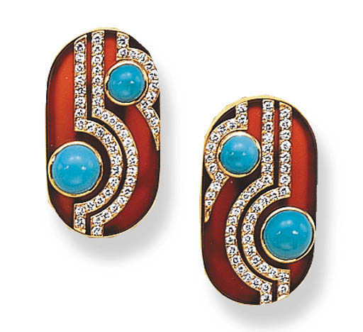 A PAIR OF TURQUOISE, CARNELIAN