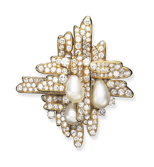 A PEARL AND DIAMOND BROOCH, BY