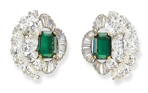 A PAIR OF EXQUISITE EMERALD AN