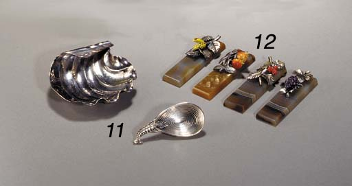 TWO SETS OF AGATE AND ENAMEL P