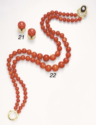A PAIR OF CORAL, DIAMOND AND O