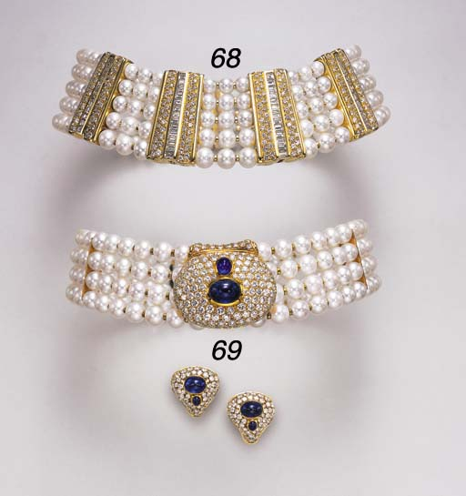 A SUITE OF CULTURED PEARL, DIA