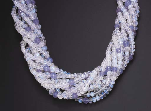 A NINE-STRAND MOONSTONE AND BL