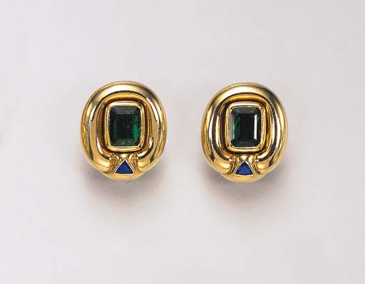 A PAIR OF EMERALD AND SAPPHIRE