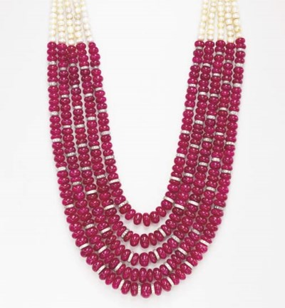 A RUBY, NATURAL PEARL AND DIAM