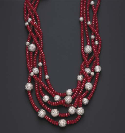 A FIVE-STRAND RUBY AND DIAMOND