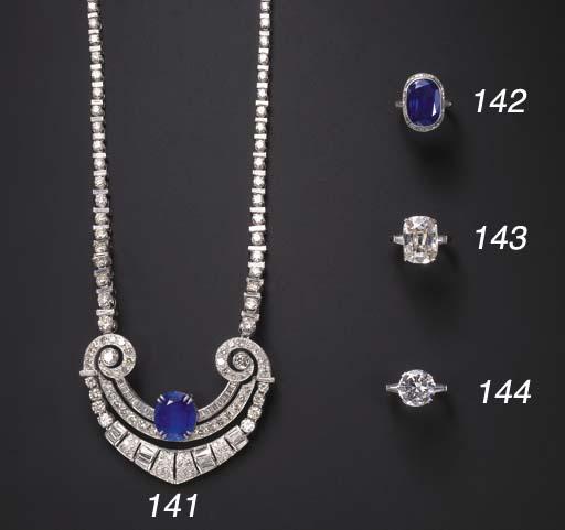 A DIAMOND AND SAPPHIRE NECKLAC