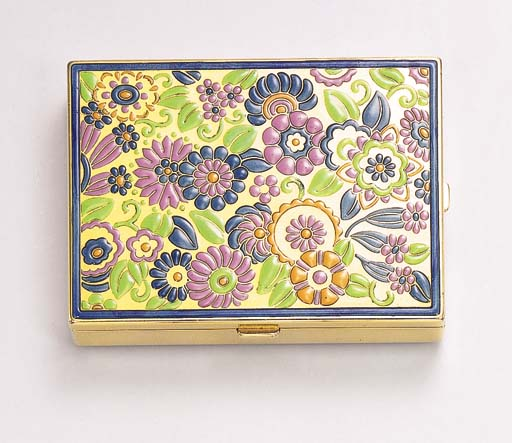 AN ART DECO ENAMEL AND GOLD CO