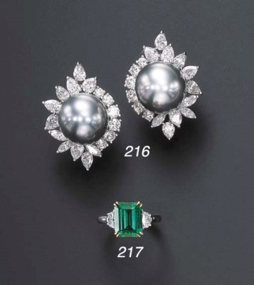 A PAIR OF DIAMOND AND CULTURED