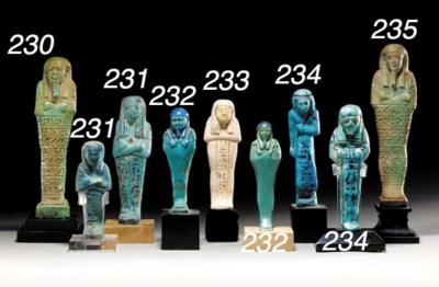 TWO EGYPTIAN TWO-TONED FAIENCE