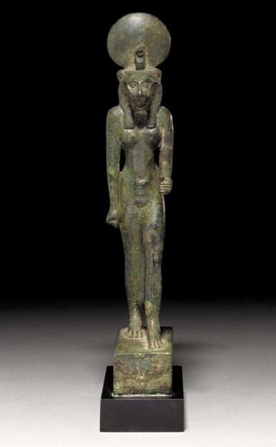 AN EGYPTIAN BRONZE SEKHMET