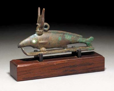 AN EGYPTIAN BRONZE OXYRYNCHUS