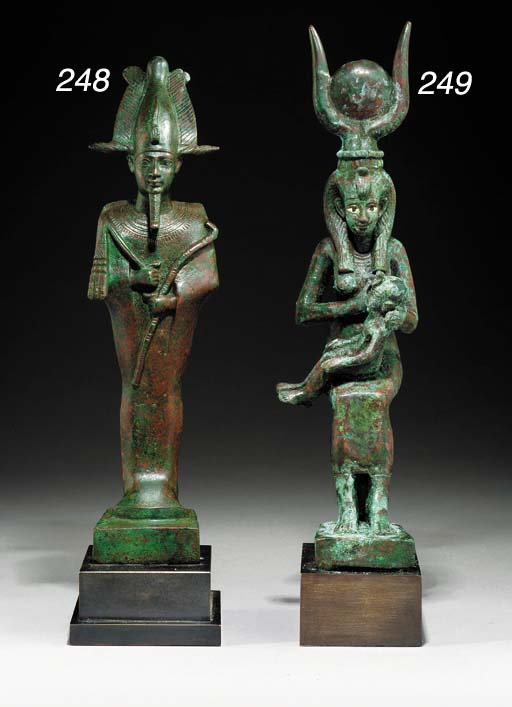 AN EGYPTIAN BRONZE FIGURE OF ISIS AND HORUS