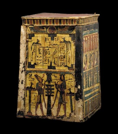 AN EGYPTIAN PAINTED WOOD CANOP