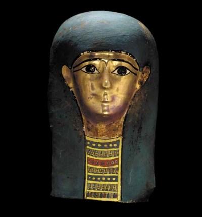 AN EGYPTIAN GILT CARTONNAGE MA