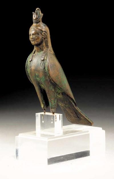 AN EGYPTIAN BRONZE BA-BIRD