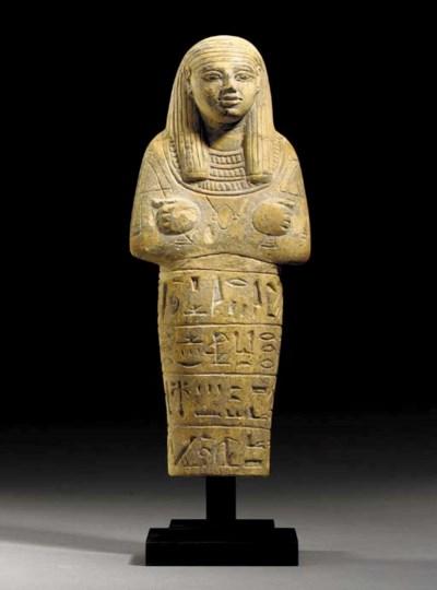 AN EGYPTIAN LIMESTONE SHABTI F
