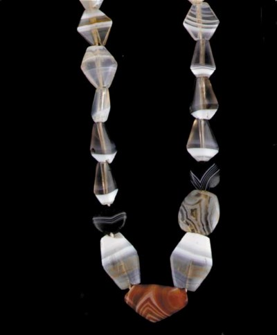 A BACTRIAN BANDED AGATE AND CA