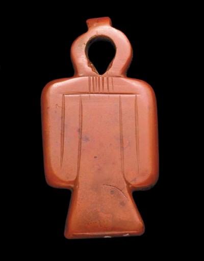 AN EGYPTIAN RED JASPER AMULET