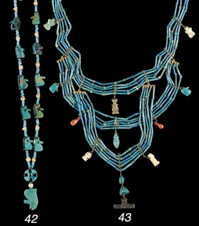 FIVE EGYPTIAN FAIENCE NECKLACE