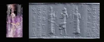 AN OLD BABYLONIAN AMETHYST CYL