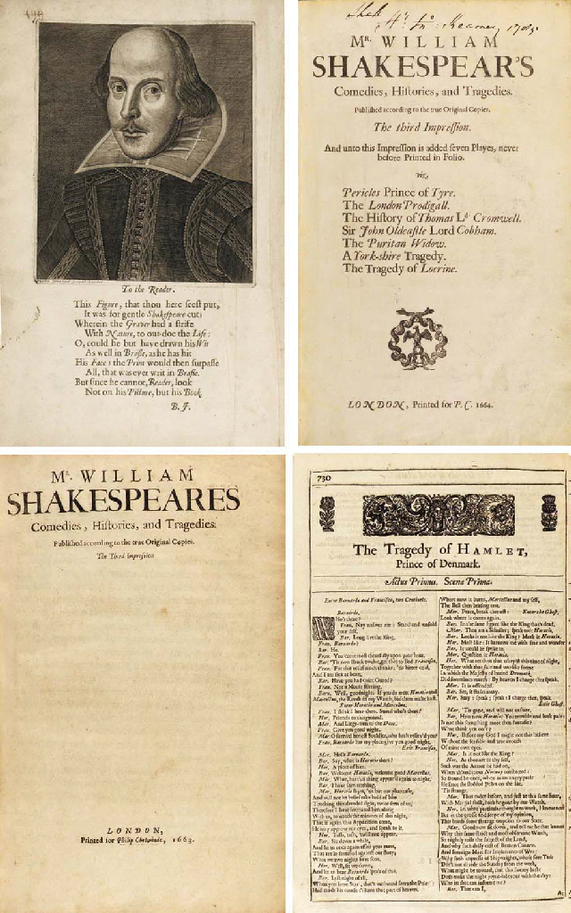 SHAKESPEARE, William (1564-1616). Comedies, Histories, and Tragedies. Published according to the true Original Copies. The third Impression. And unto this Impression is added seven Playes, never before Printed in Folio. Edited by John Heminge (d. 1630) and Henry Condell (d. 1627), except for Pericles and six spurious plays added by the publisher, Philip Chetwin (d. 1680). London: Printed [by Roger Daniel (190 edition sheets), John Hayes or Thomas Ratcliffe (46 sheets), and Alice Warren (21 sheets)] for P.C. 1664 (first-issue title: Philip Chetwinde, 1663).