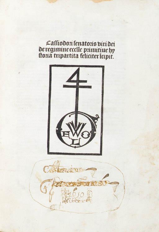CASSIODORUS, Magnus Aurelius (ca.487-583). Historia ecclesiastica tripartita. [Paris:] George Wolf [about 1492].