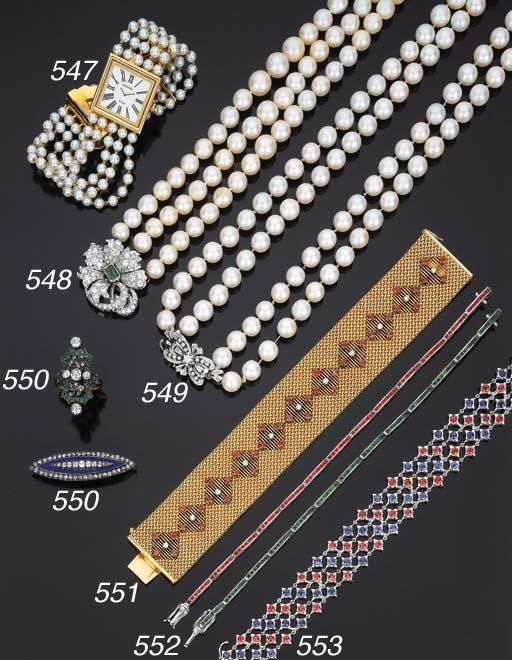 Orologio in oro e perle coltiv